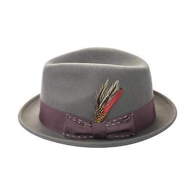 Janetshats Men's Wool Felt Crushable Handmade Bowknot Feather Fedora Hat Grey