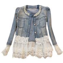 Vintage Beaded Lace Denim  Women Jacket - $42.00