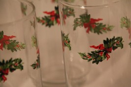 Set of 4 Libby Christmas Glasses Holiday Evergreen Bow Holly 5 1/2 inches Tall - $28.01