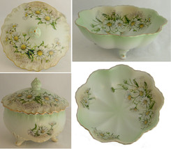 Limoges Bowl and Candy Dish 3 pc. Set  Daisy Flowers Three Footed Vintage - $42.56