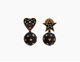 AUTHENTIC CHRISTIAN DIOR Metal Star Heart Earrings Black Gold
