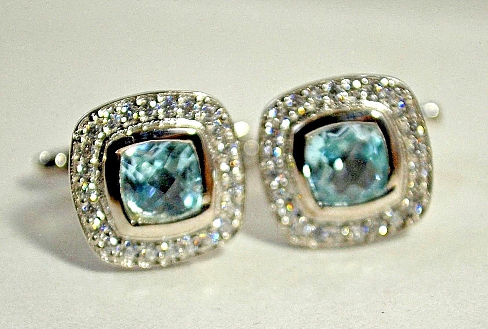 925 Sterling Silver Natural A+ Quality Blue Topaz And Cz Gemstone Artistic Handm image 2