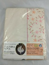 Sears Columbine Floral Perma Prest Percale Sheet Full Size Flat  - $9.95