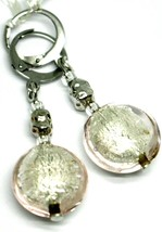 """PENDANT EARRINGS PINK ROUNDED DISC MURANO GLASS 4.5cm 1.8"""" MADE IN ITALY image 1"""