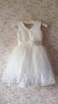 Cute White Tulle A-line Girl Dress Custom Wedding Flower girl Dress Custom  image 1
