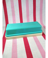 Vintage Rogers Plastic 2pc Turquoise and Cream Butter Dish - $10.00