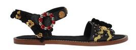 New $1120 Dolce & Gabbana Women Black Leather Pom Pom Crystal Sandals US 10.5  - $425.11