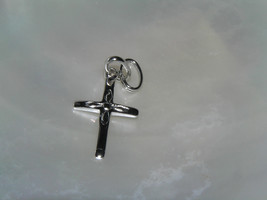 Estate Silver Etched Religious CROSS Charm or Dainty Pendant –0.75 x 0.5... - $6.79