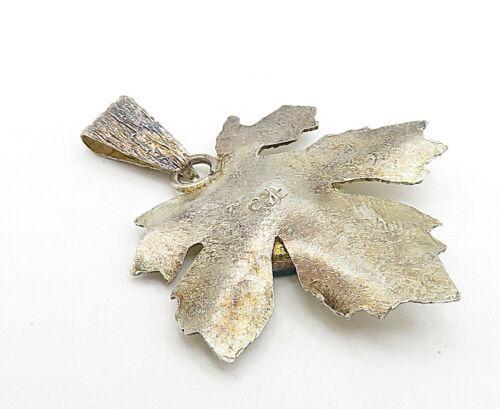 925 Sterling Silver - Vintage Turquoise Gold Tone Autumn Leaf Pendant - P6147 image 3