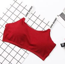 Red High Elastic Full Cup Wire Free Alphabet Straps Push up Comfortable Top - $17.75