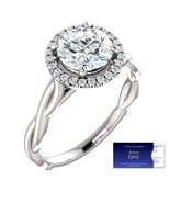 14K Gold 1.60 Carat Moissanite Forever One Halo Style Ring (Charles & Co... - $1,395.00