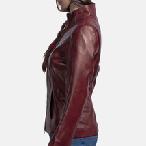 Designer Ladies Brown Leather Motorcycle Jacket-LD-09 image 3