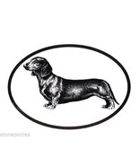 Dog Breed Oval Vinyl Car Decal Black & White Sticker - Dachshund - $4.00
