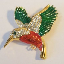Vintage Hummingbird Brooch Pin Gold Tone Emerald Green & Red Enamel Rhin... - $19.99