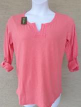 NWT Eddie Bauer 3/4 button tab sleeve cotton slub top /blouse S  coral Msrp $40. - $9.49