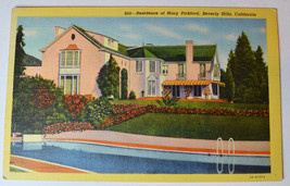 California Beverly Hills - Residence of Mary Pickford - Old Vintage Linen - $2.99