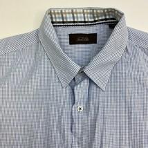 Tasso Elba Button Up Shirt Mens XXL Blue Check Short Sleeve Casual - $18.95