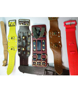 lot of 7 wide buckle cuff vintage 1970's wide watch bands made in usa - $140.29