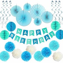 Blue Birthday Party Decoration Set - Happy Birthday Banner, Blue Paper F... - $20.67