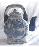 Decorative Teapot Blue and White Rose Design Vintage Ceramic  - $19.49