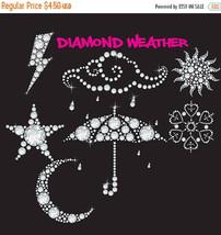 Diamond weather clipart, diamond clipart, moon, sun, rain, clouds, umbre... - $4.05