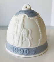 1990 Lladro Christmas Bell Ornament Blue Three Kings on Horses Porcelain... - $12.59