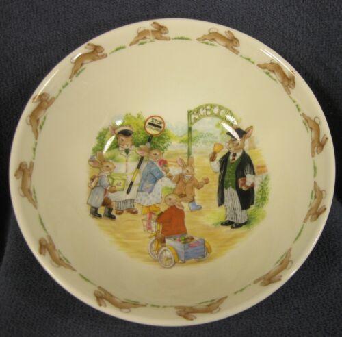 Royal Doulton Bunnykins Soup Cereal Bowl SCHOOL GATES Bone China England Vtg