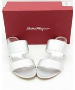 NIB Salvatore Ferragamo Belluno Two-Banded Silver Leather Flower Heel Sandals 11 - $295.00