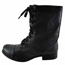 Soda Relax Black Women's Lace Up Faux Leather Combat Boot - $34.95