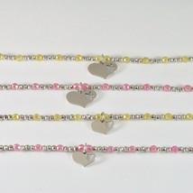 Silber Armband 925 Rhodium mit Zirkonia Kubische Kugeln und Anhänger A Herz - $55.55+