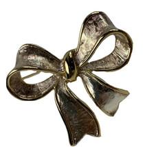 """Napier Bow Brooch Gold Tone Ribbon Christmas Pin 1.75""""  - $16.79"""