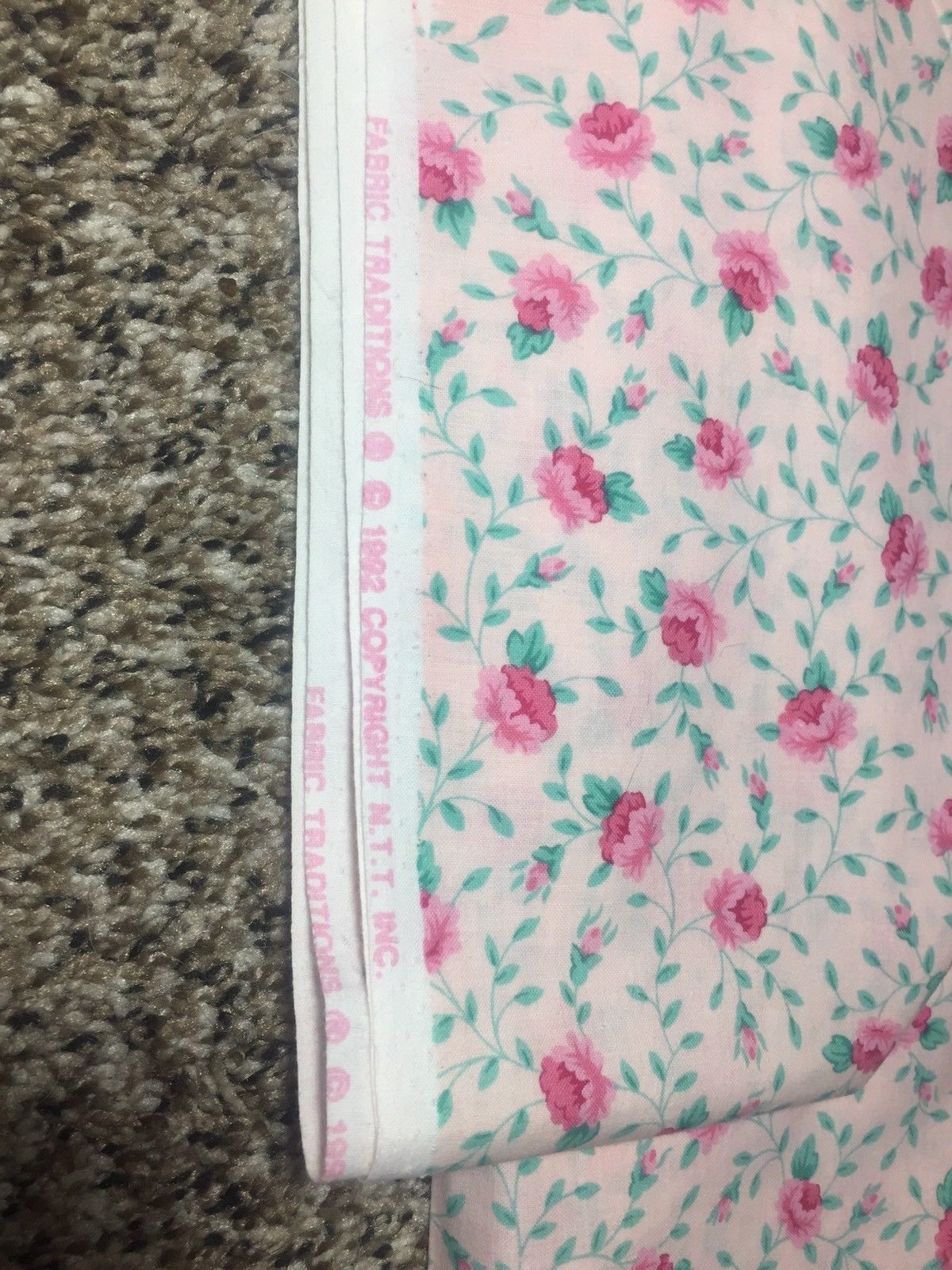 Vintage Fabric Traditions 1992 Pink Cotton Roses Fabric 2.8 Yards x42 Wide