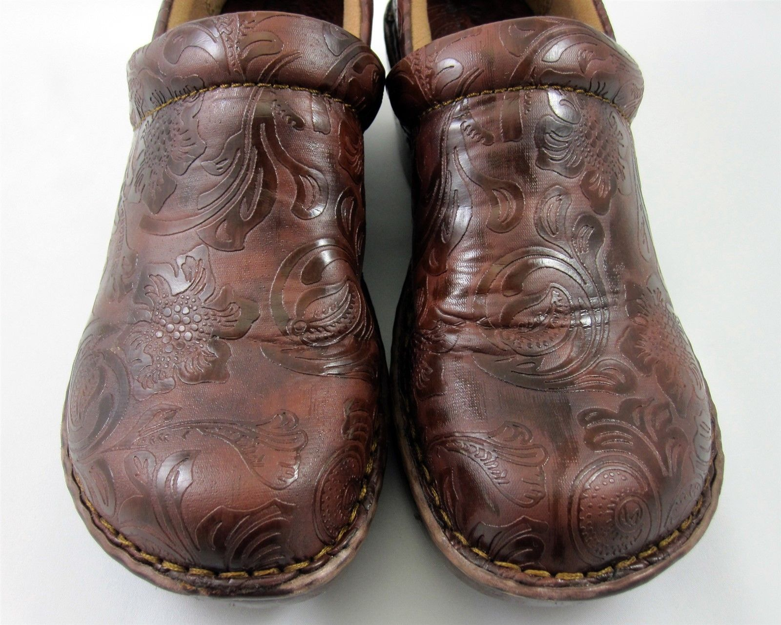 BOC Born Concepts Clogs Size 7.5 Womens Shoes Brown Embossed Floral Tooled Vegan