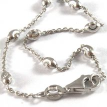"""18K WHITE GOLD ROLO ALTERNATE CHAIN NECKLACE 3mm FACETED OVAL BALLS 18"""" image 4"""