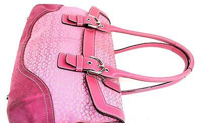 ad4149d9575d7 Auth COACH logo fabric genuine suede Leather Hot pink duffel shoulder bag