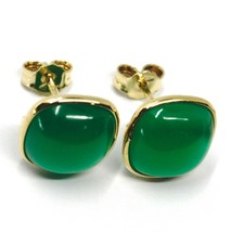 18K YELLOW GOLD BUTTON LOBE EARRINGS, CABOCHON SQUARE GREEN AGATE DIAMETER 9mm image 2