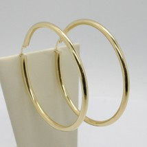 18K YELLOW GOLD ROUND CIRCLE EARRINGS DIAMETER 50 MM, WIDTH 3 MM, MADE IN ITALY image 1