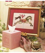 Plastic Canvas Carousel Rocking Horse Sign Tissue Cover Ornaments USA Pa... - $13.99