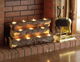 Fireplace Logs Handcrafted Tealight Rustic Home Decor Tea Light Candle H... - $79.99