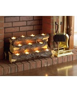 Fireplace Logs Handcrafted Tealight Rustic Home Decor Tea Light Candle H... - $79.49