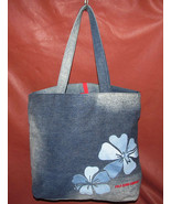 Ralph Lauren Polo Jeans Co Distressed Blue Denim Hibiscus Shopper Tote W... - $17.84