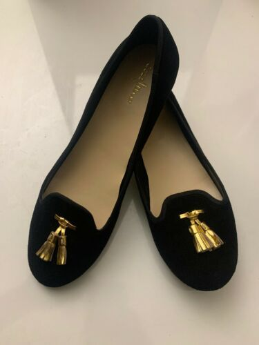 New Cole Haan Women's Black Felt Slip-On Loafers 9.5 B Gold Tassels Shoes image 1