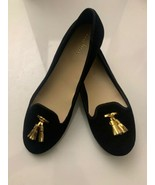 New Cole Haan Women's Black Felt Slip-On Loafers 9.5 B Gold Tassels Shoes - $74.25