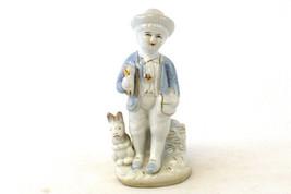 Vintage Porcelain Boy With Gold Gild Horn And Rabbit Figurine - $7.92