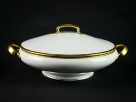 Hutschenreuther Norfolk Gold Round Covered Bowl, Antique c1910 Vegetable... - $68.60