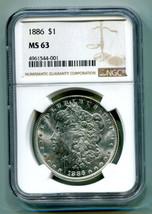 1886 MORGAN SILVER DOLLAR NGC MS63 NICE ORIGINAL COIN FROM BOBS COIN FAS... - $65.00
