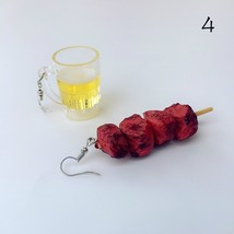 Creative Funny Bbq Meat Fish Ball Vegetable Drop Earrings For Women Fash... - $25.99