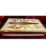VTG ITALIAN FLORENTINE FLORENCE HAND PAINTED WHITE & GOLD WOOD TISSUE BO... - $35.64