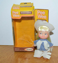 "Vintage Pee Wee Westerns Doll Uneeda Cowgirl Western Toy 1981 4"" Tall - $15.10"