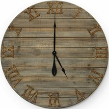 "Wall Clock 30"" 2.5' Large Wooden Boards Metal Eco-Friendly Roman Numeral... - $209.00"
